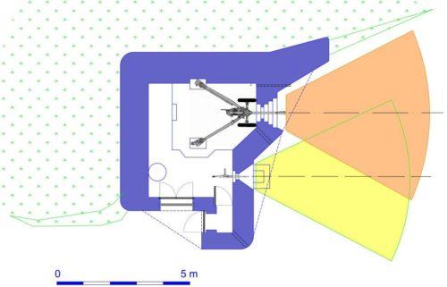 План каземата STG-FCR 39 Mod B с правосторонними амбразурами.