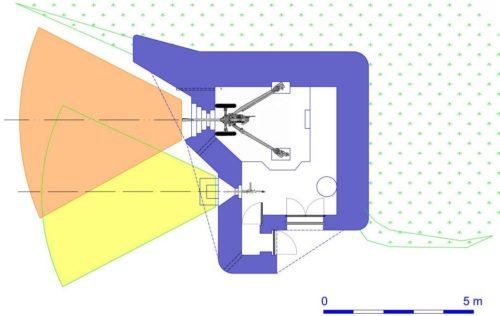 План каземата STG-FCR 39 Mod B с левосторонними амбразурами.