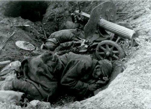 Погибшие советские пулеметчики. Октябрь 1941 г.