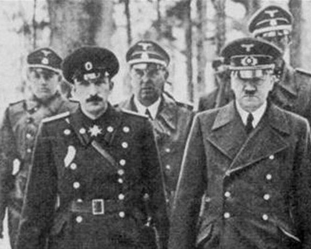 А. Гитлер и царь Борис III. 7 июня 1941 г.