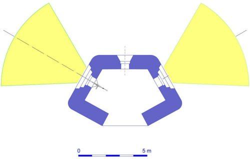 План блокпоста RM типа A с фланкирующими амбразурами.