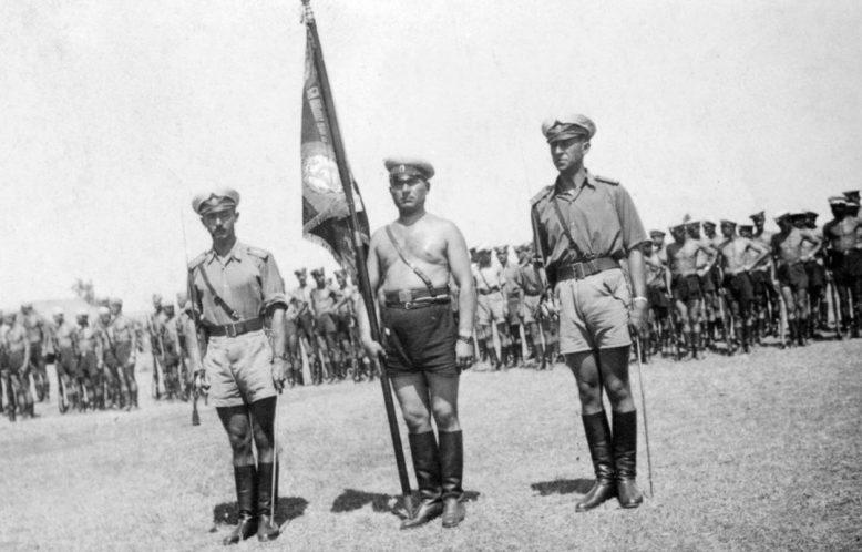 Построение болгарской части перед знаменем на греческом аэродроме. 1942 г.