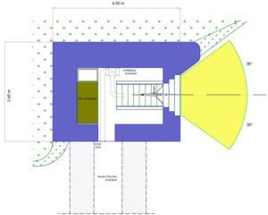План блокпоста STG тип 1 с правосторонней амбразурой.