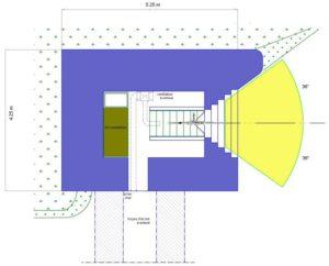 План блокпоста STG тип 1bis с правосторонней амбразурой.