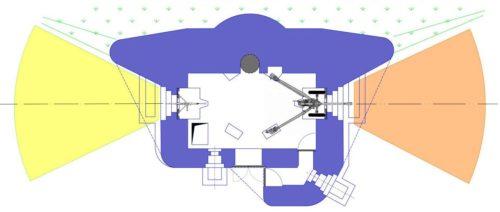 План блокпоста RM типа А с правосторонней пушечной амбразурой и бронебашней Valenciennes.