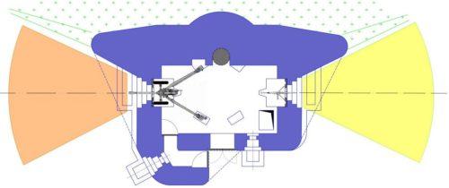 План блокпоста RM типа А с левосторонней пушечной амбразурой и бронебашней Valenciennes.