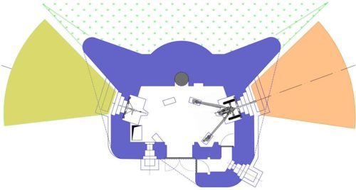 План блокпоста RM типа В с правосторонней пушечной амбразурой и бронебашней Valenciennes.