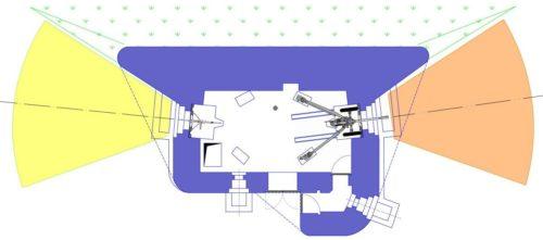 План блокпоста RM типа С с правосторонней пушечной амбразурой.