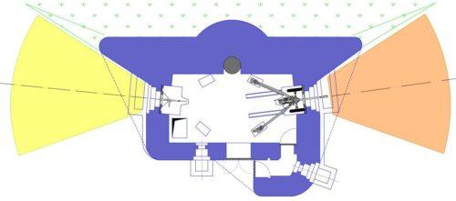 План блокпоста RM типа С с правосторонней пушечной амбразурой и бронебашней Valenciennes.