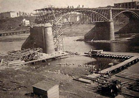 Разрушенный Двинский мост. 1941 г.
