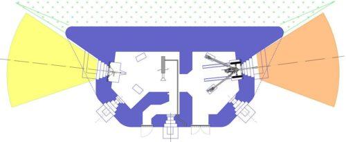 План блокпоста RM типа Dc с правосторонней пушечной амбразурой.