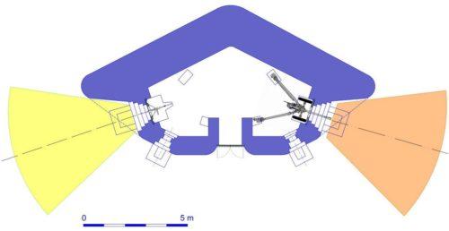 План блокпоста RM типа Dd с правосторонней пушечной амбразурой.