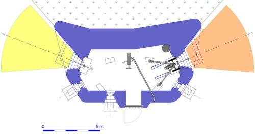 План блокпоста RM типа G1 с правосторонней пушечной амбразурой и бронебашней Valenciennes.