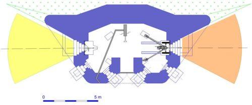 План блокпоста RM типа G2 с правосторонней пушечной амбразурой.