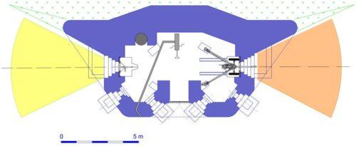 План блокпоста RM типа G2 с правосторонней пушечной амбразурой и бронебашней Valenciennes