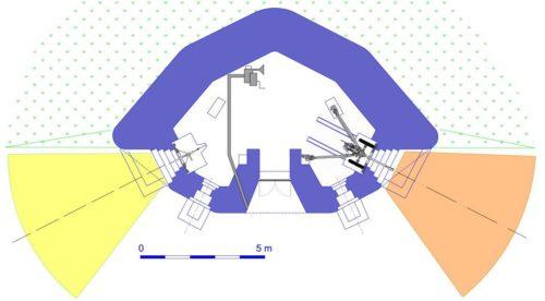 План блокпоста RM типа G3 с правосторонней пушечной амбразурой.