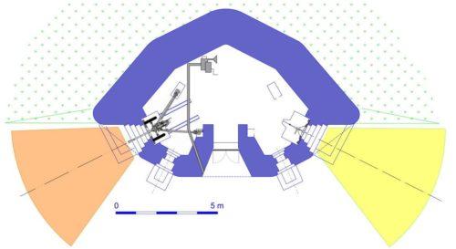 План блокпоста RM типа G3 с левосторонней пушечной амбразурой.