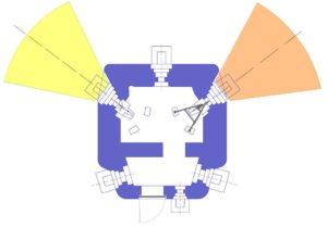План блокпоста RM типа M/Mf с фронтальными амбразурами и правосторонней пушечной амбразурой.