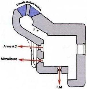План блокпоста FCR GA1 типа B1 с левосторонними амбразурами.