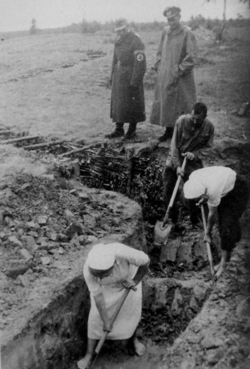 Мирные жители работают на создании оборонительной линии под Витебском. Июнь 1944 г.