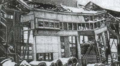 Разрушенный оккупантами мартеновский цех. 1943 г.