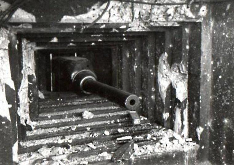 Амбразура с 47-мм противотанковым орудием. Блока №2.