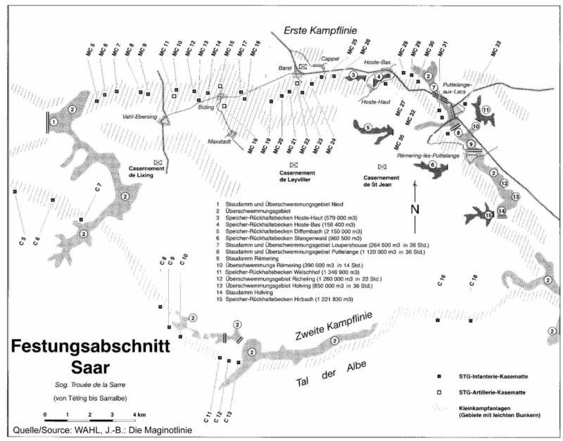 Схема расположения оборонительных сооружений в укрепрайоне Саар.