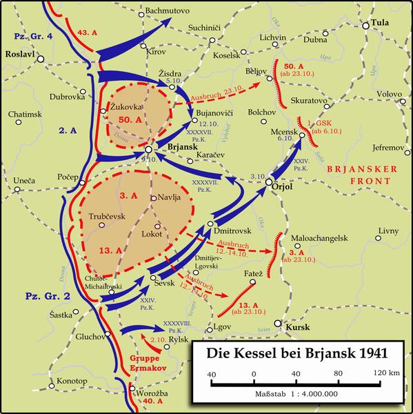 Окружение основных сил Брянского фронта в октябре 1941 г.