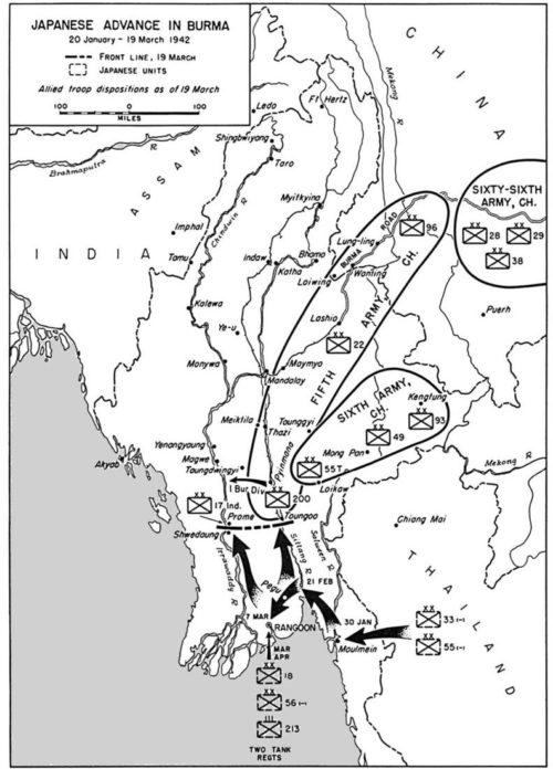 Карта-схема японского наступления в январе-марте 1942 г.