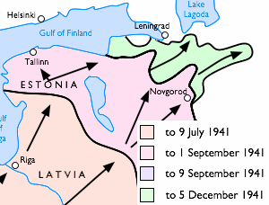 Положение лини фронта во время Ленинградской оборонительной операции.