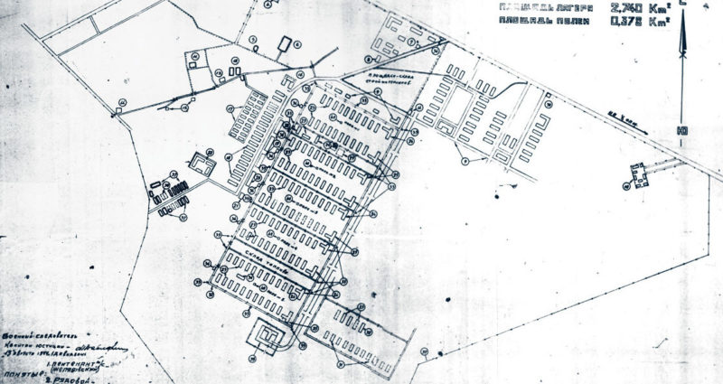План лагеря, составленный советскими военными после его освобождения.