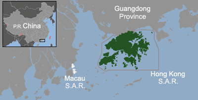 Расположение Гонконга на карте.