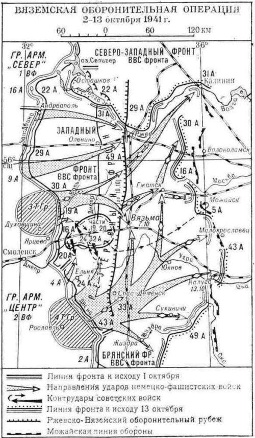 Карта-схема Вяземской оборонительной операции.