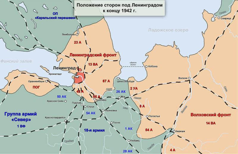 Линия фронта под Ленинградом на январь 1943 г.