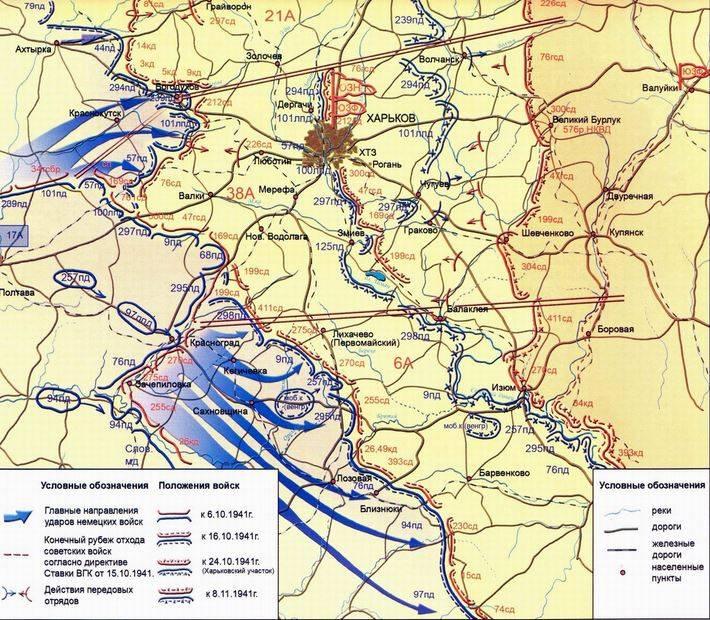 Карта-схема обороны Харькова.