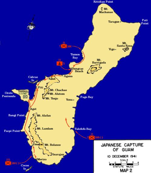 Карта-схема захвата Гуама японцами.