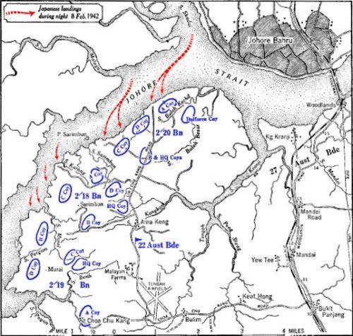 Схема высадки японского десанта на пляже Саримбун.