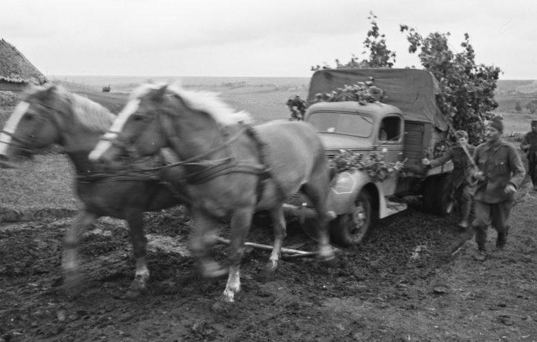 Венгерские солдаты вытаскивают грузовик с помощью запряженных лошадей. 1942 г.