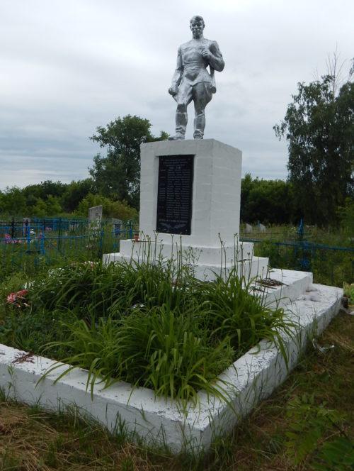 с. Песчаное Беловского р-на. Памятник, установленный в 1963 году на братской могиле, в которой похоронено 25 советских воинов, в т.ч. 4 неизвестных, погибших в марте 1943 г.