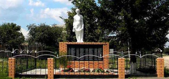 с. Пушкарное Кореневского р-на. Памятник, установленный в 1965 году на братской могиле, в которой похоронен 119 советских воинов, погибших в марте 1943 г.