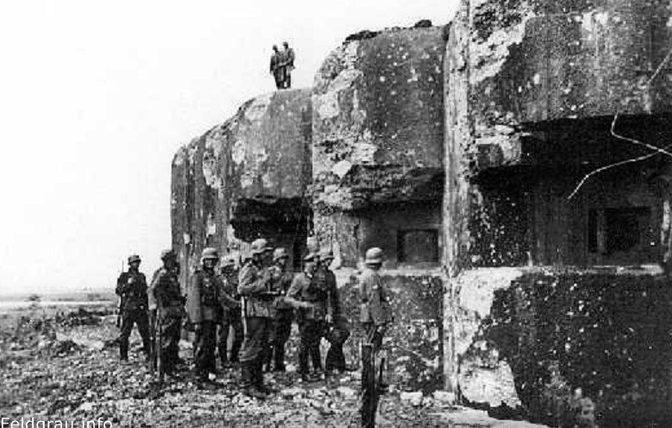 Блок 4 форта «Fermont» после обстрела 88-мм зенитками.