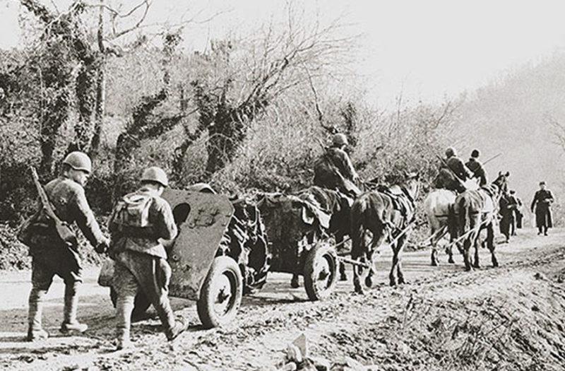 Четырехконная артиллерийская упряжка.
