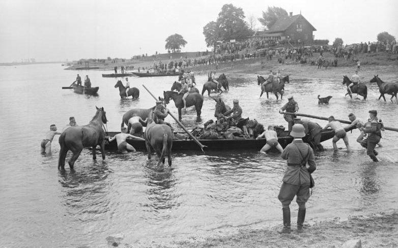 Купание лошадей на переправе. Польша. 1939 г.