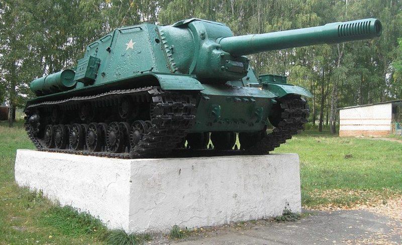 п. Прямицыно Октябрьского р-на. Памятник - самоходная установка ИСУ-152.