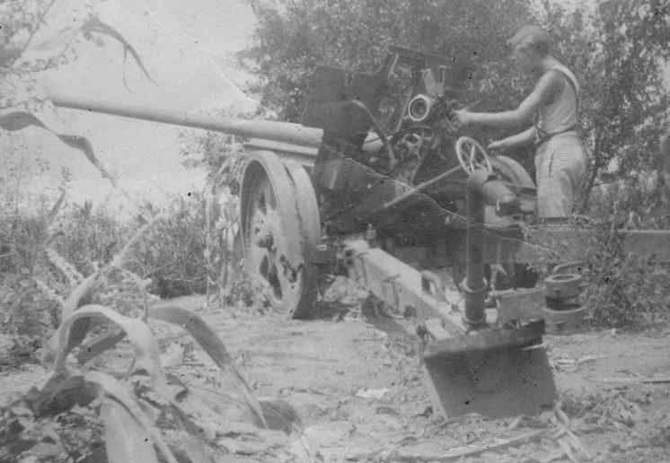 Солдат Вермахта у поврежденного советского орудия под Новороссийском. 30 мая 1943 г.
