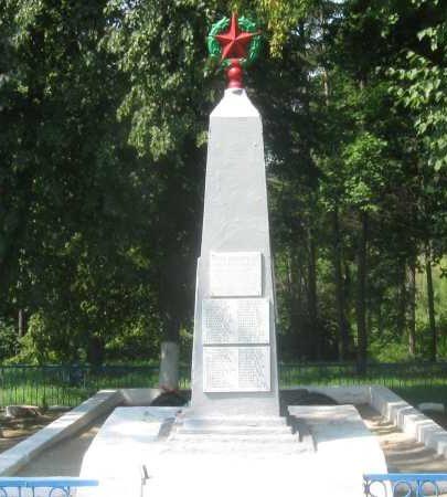 с. Глебово Курского р-на. Памятник, установленный на братской могиле, в которой похоронено 119 советских воинов, в т.ч. 22 неизвестных.