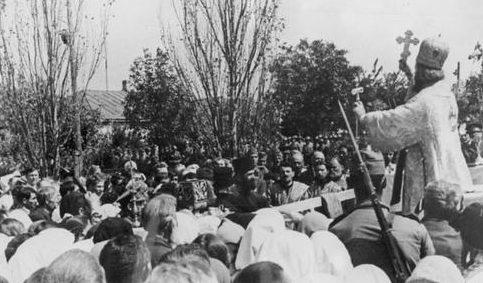 Православная церковная служба после занятия города румынской армией. Тирасполь, сентябрь 1941 г.