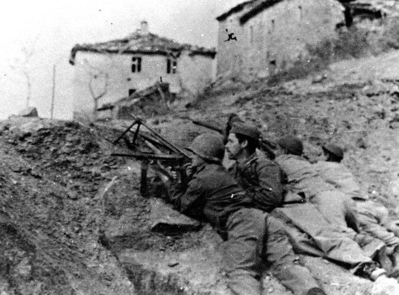 Бразильские солдаты во время битвы в Монтезе. Апрель 1945 г.