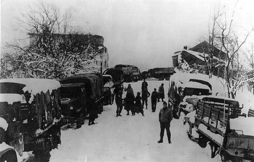 Перевозка пленных немцев. 1945 г.