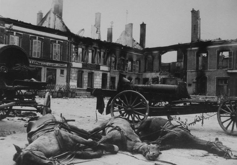 Лошади, погибшие после авианалета на площади населенного пункта западнее Парижа. Июнь 1940 г.